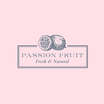 Passion fruit abstract vector sign symbol or logo template hand drawn fruits sillhouette sketch with...