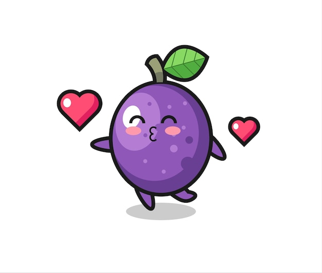 Passion fruit character cartoon with kissing gesture , cute style design for t shirt, sticker, logo element