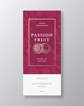 Passion fruit home fragrance abstract vector label template hand drawn sketch flowers leaves backgro...