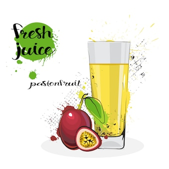 Passion fruit juice fresh hand drawn watercolor glass on white background