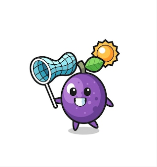 Passion fruit mascot illustration is catching butterfly , cute style design for t shirt, sticker, logo element