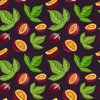 열정 과일 패턴. 잘 익은 열대 과일 절반 및 조각.