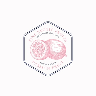 Passion fruit purveyors frame badge or logo template hand drawn fruits sketch with retro typography ...