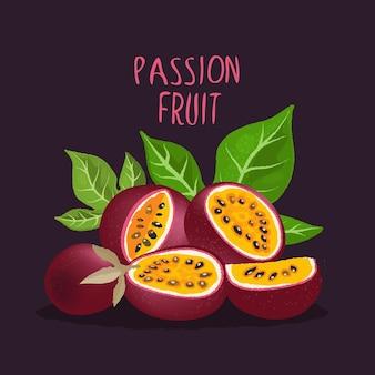 Маракуйя. половинки и ломтики спелых тропических фруктов.