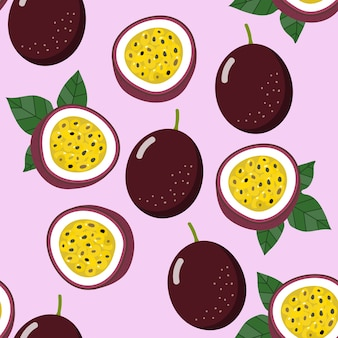 Passion fruit seamless pattern and vector.