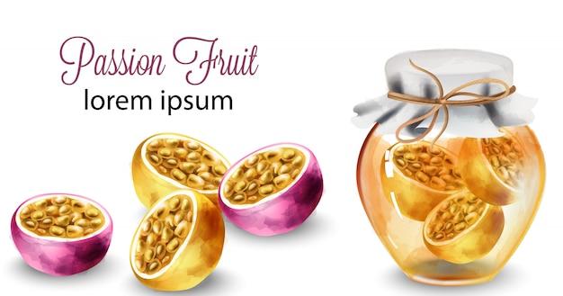パッションフルーツのスライスと蜂蜜の瓶
