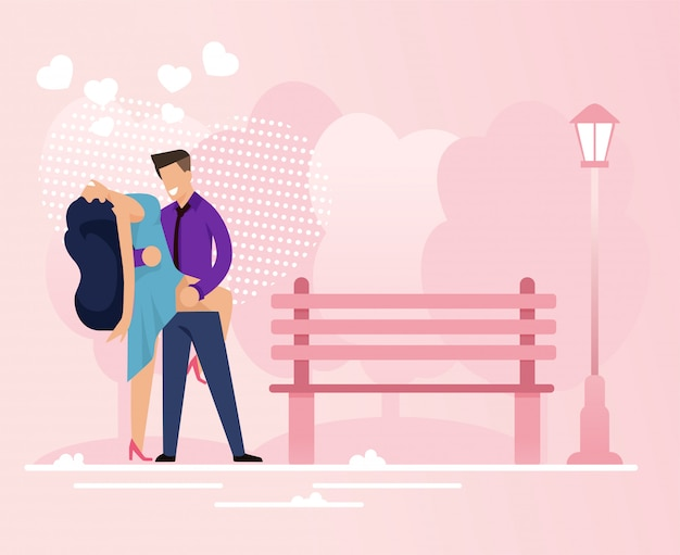 Passionate couple spend time in park dating vector