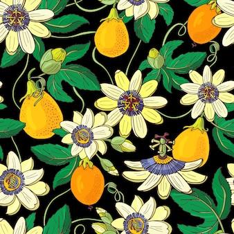 トケイソウトケイソウ、黒い背景にパッションフルーツ。花のシームレスなパターン。大きな明るいエキゾチックなマラクジャの花、つぼみ、葉。印刷用繊維、布、ラッピングの夏のイラスト。