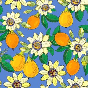 青色の背景にトケイソウ(トケイソウ、パッションフルーツ)。花のシームレスなパターン。大きな明るいエキゾチックなマラクジャの花、つぼみ、葉。印刷用繊維、生地、ラッピングの夏のイラスト。