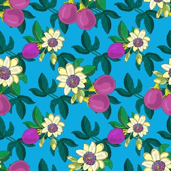 Passionflower passiflora,passion purple fruit on a blue background.floral seamless pattern.big bright exotic maracuja flowers,bud and leaf.summer  illustration for print textile,fabric.