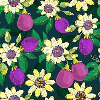 Passionflower passiflora,passion purple fruit on a dark background.floral seamless pattern.big bright exotic maracuja flowers,bud and leaf.summer  illustration for print textile,fabric.