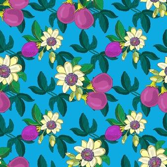 トケイソウトケイソウ、青色の背景にパッションパープルフルーツ。花のシームレスなパターン。大きな明るいエキゾチックなマラクジャの花、つぼみ、葉。