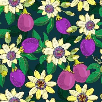 トケイソウトケイソウ、暗い背景にパッションパープルフルーツ。花のシームレスなパターン。大きな明るいエキゾチックなマラクジャの花、つぼみ、葉。プリントテキスタイル、ファブリックの夏イラスト。