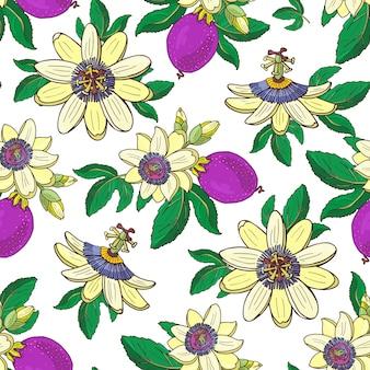 トケイソウトケイソウ、白い背景の上のパッションパープルフルーツ。花のシームレスなパターン。大きな明るくエキゾチックなマラクジャの花、つぼみ、葉。プリントテキスタイル、ファブリックの夏のイラスト。