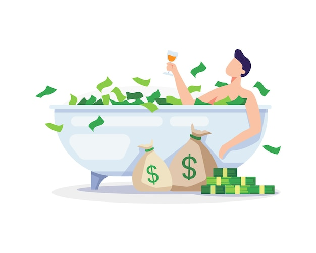 Passive income concept illustration. young man relaxing with banknote bath. vector in a flat style