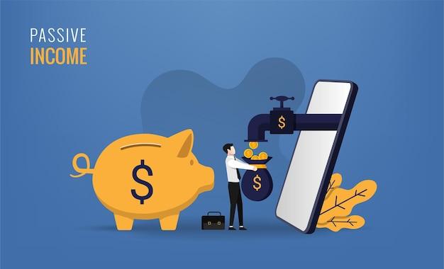 ビジネスマンと彼のスマートフォンのシンボルとの受動的な収入の概念。電話からコインが出てきます