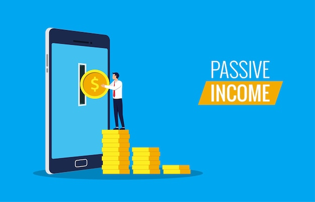 Passive income from online concept. businessman taking money from smartphone.