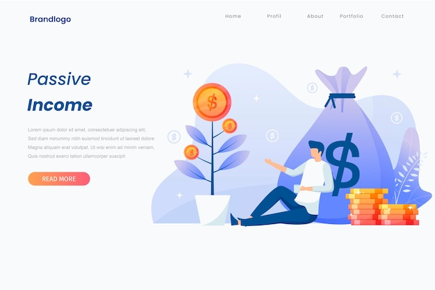 Passive income illustration landing page concept.