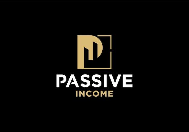 수동 소득, 투자, 비즈니스 로고 디자인