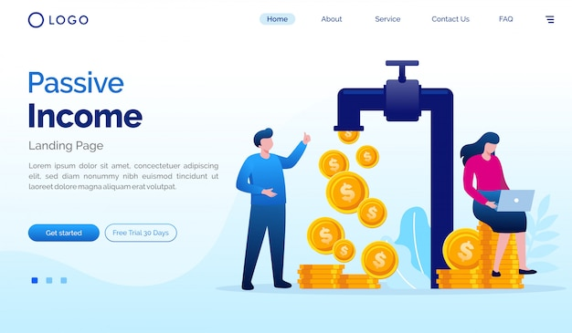 Passive income landing page website flat vector template