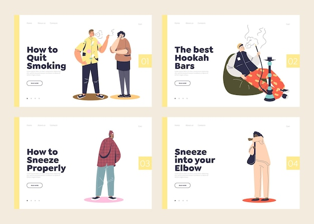 Passive smokers and covering face while coughing concept of set of landing pages templates