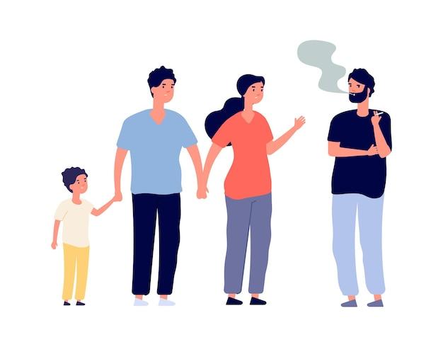 Пассивные курильщики. парень курит в общественном месте. семья с детьми и мужчина с наркотической или никотиновой зависимостью. плохая привычка векторные иллюстрации. характер зависимости от дыма, человек человек курит