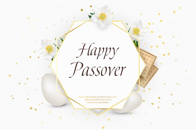 Passover holiday. decorative frame with eggs, matzo, flowers, grass.  template, illustration.