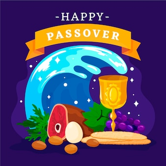 Passover illustration with food