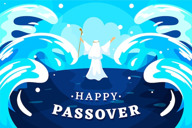 Passover illustration with parting sea