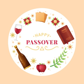 Passover pesach in flat design