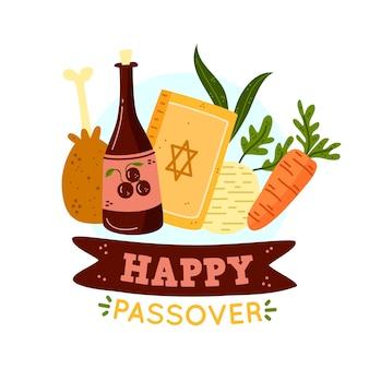 Pasqua ebraica con vino e cibo