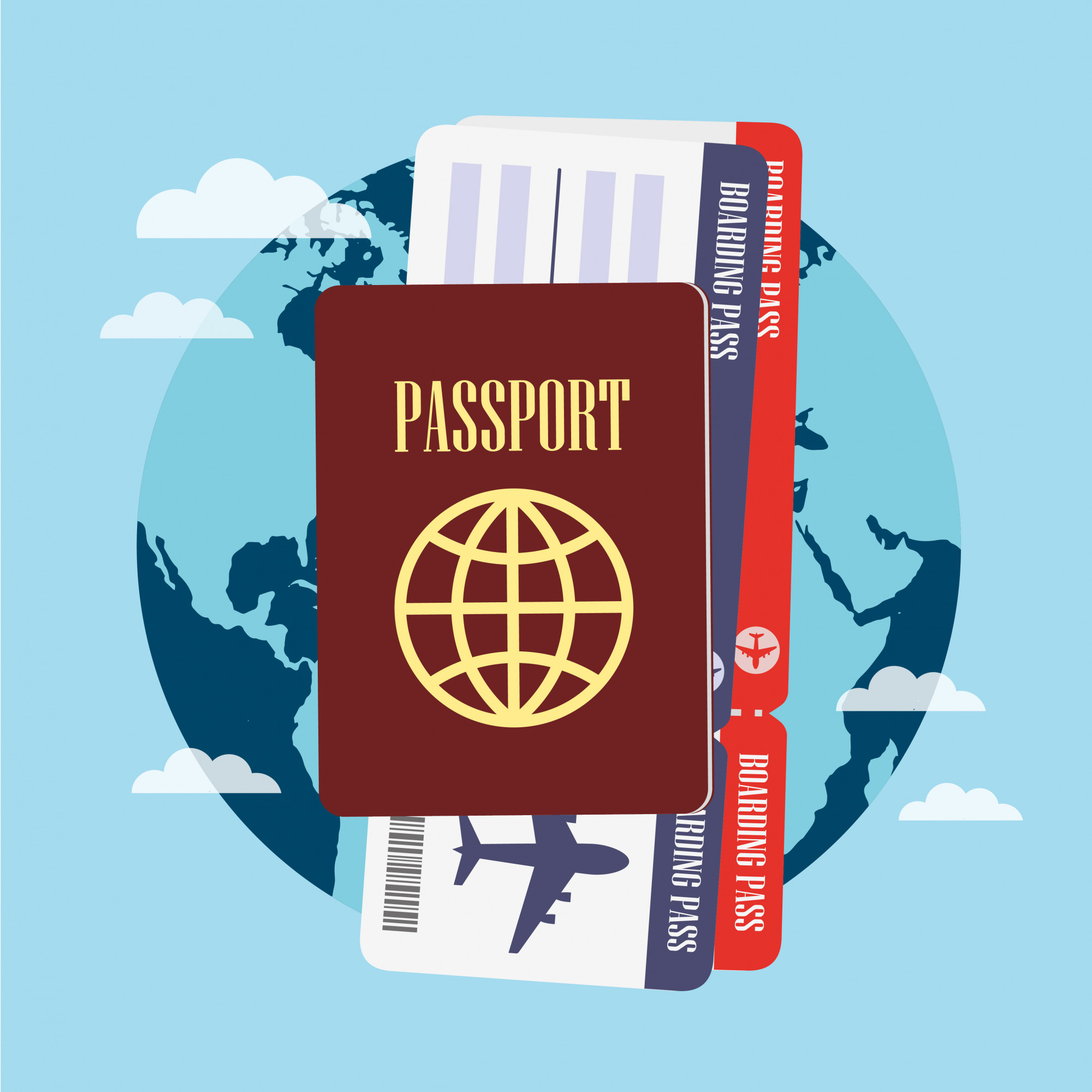 Passport and boarding pass on blue world background