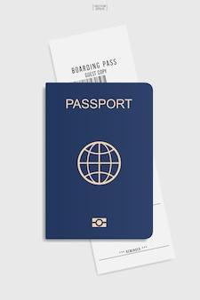 흰색 바탕에 여권 및 탑승권 티켓입니다. 벡터 일러스트 레이 션.