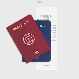 白い背景のパスポートと搭乗券のチケット。ベクトルイラスト。