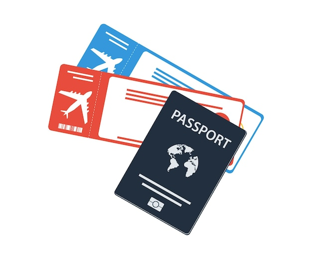 Значок паспорта и билета. посадочный талон с паспортом. дизайн баннера путешествия. предложение командировки на отдых, турист
