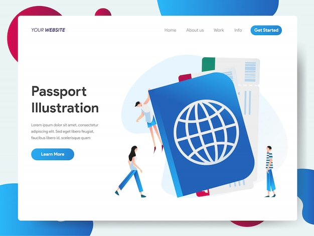 Passport banner for landing page concept