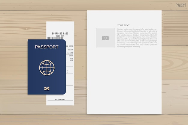 Passport and boarding pass ticket on wood background. vector illustration.