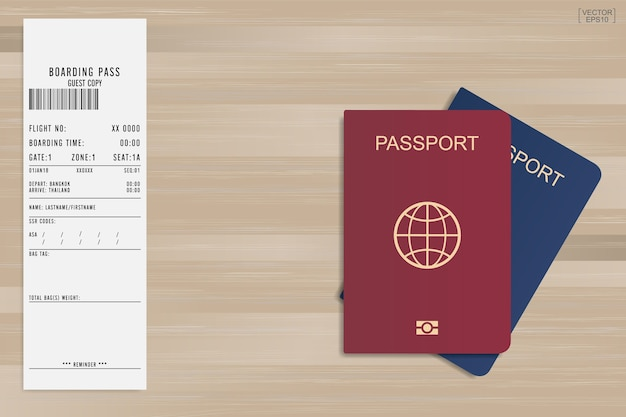 Passport and boarding pass ticket.