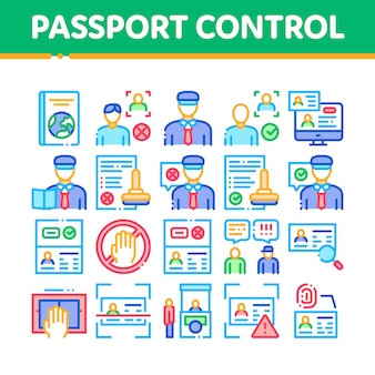 Passport control check collection icons set