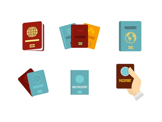 Passport icon set. flat set of passport vector icons collection isolated