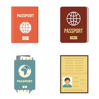 パスポートアイコンを設定します。白い背景で隔離のパスポートベクトルアイコンのフラットセット