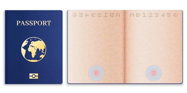 パスポートのモックアップ。透かし入りの外国のパスポート、グローブ付きのドキュメントカバー、idツーリスト、旅行用のベクターテンプレート、個人移民、データ情報を含む現実的な空白の開いたページの紙