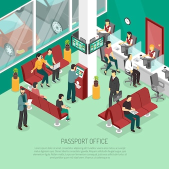 Passport office isometric illustration