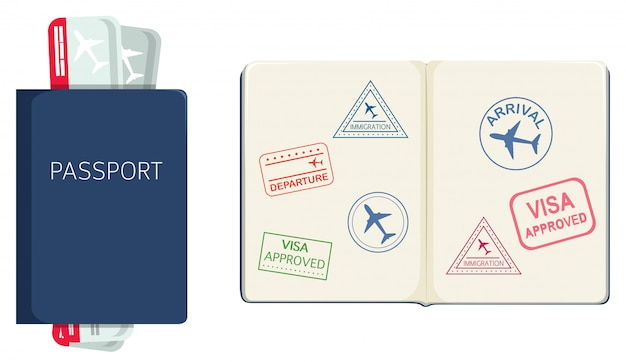 흰색 배경에 여권