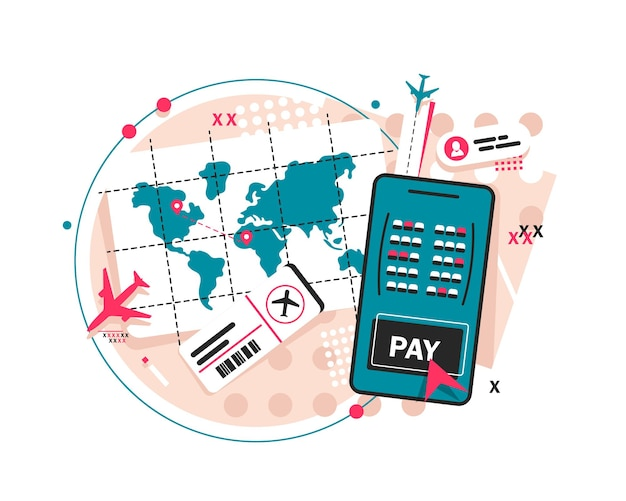 Passport and plane ticketstamp passport flat iconboarding pass ticket icon