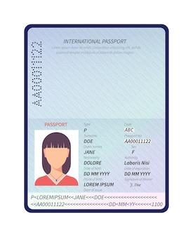 パスポート。サンプルデータの個人ページ、写真付きの女性の国際パスポート。アイデンティティ生体認証管理文書