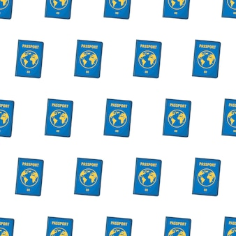 白い背景の上のパスポートのシームレスなパターン。旅行のテーマのベクトル図