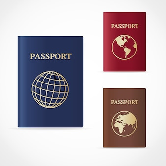 Passport set with map and with globe icon.