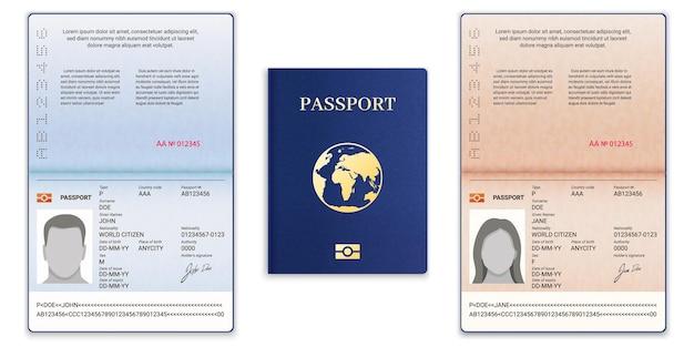 パスポートテンプレート。旅行と移民のためのサンプル個人データページの男性と女性のドキュメント、ベクトルセットを備えた国際オープンパスポート。地球儀付きの青いカバー、情報付きの現実的なid