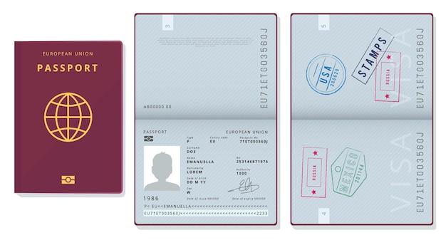 여권 템플릿. 공식 id 문서 비자 묘목 페이지 카드 법적 여행 배지 사진.